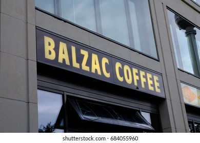 Berlin, Germany - July 15, 2017: Balzac coffee signboard. Founded in 1998, the company has now  49 cafes in 15 German cities