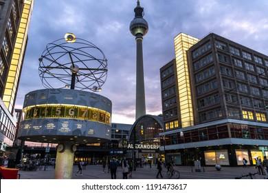 Berlin /  Germany - July 17, 2018: World Clock (Weltzeituhr), also known as the Urania World Clock (Urania-Weltzeituhr) located in the public square of Alexanderplatz in Mitte, Berlin.