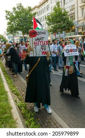 BERLIN, GERMANY - JULY 18, 2014: March of Solidarity with the Palestinian People. Conflict in the Middle East between Israel and Palestine.