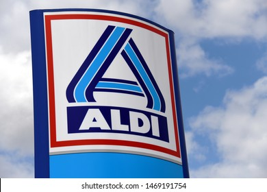 Berlin / Germany - July 20, 2019: Sign at the entrance to an ALDI Nord store in Berlin, Germany  -  ALDI is the common brand of two leading global supermarket chains