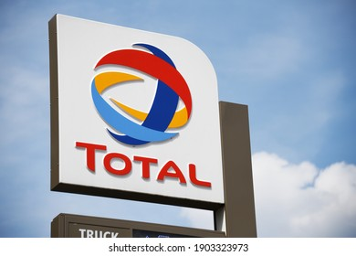 Berlin, Germany - July 20, 2019: Total sign in Berlin, Germany - Total is a french multinational integrated oil and gas company and one of the six supermajor oil companies in the world