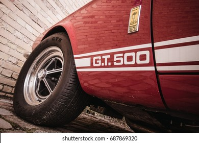 BERLIN, GERMANY - JULY 2017: Detail of a red Ford Mustang Shelby GT 500 from 1967