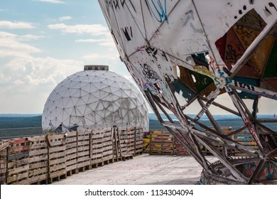 Berlin, Germany - july 2017: Radome at abandoned NSA field station / listening station on Teufelsberg in Berlin, Germany