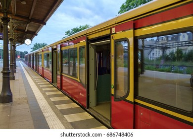 BERLIN, GERMANY - JULY 2017: S-Bahn commuter train stopped at Zehlendorf station in Berlin, Germany in July 2017.
