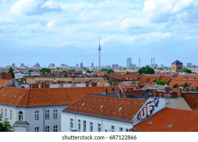BERLIN, GERMANY - JULY 2017: View over the city rooftops from the Neukolln area of Berlin, Germany, in July 2017