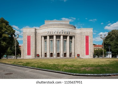 "Berlin, Germany - july 2018:   The facade of the Volksbuehne (""People's Theatre"") at Rosa Luxemburg Platz in Berlin Mitte, Germany"