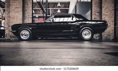 BERLIN, GERMANY - July 2018: Ford Mustang Coupe 1966 in black