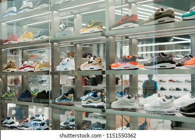 Berlin, Germany - july 2018: Nike sneaker collection / sport shoes in shopping window at store in Berlin