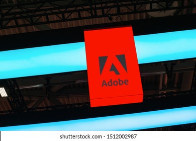 BERLIN, GERMANY JULY 2019: Adobe Systems Logo. Adobe is a multinational software company that produces and sells multimedia and creativity software.