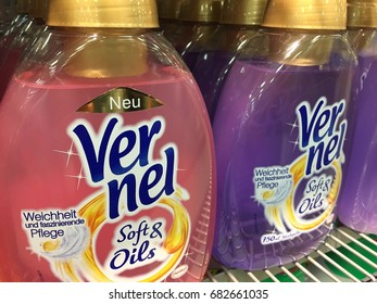 Berlin, Germany - July 21, 2017: Henkel Vernel softener detergent. Henkel AG & Company, KGaA, is a German chemical and consumer goods company