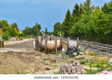 Berlin, Germany - July 22, 2018: Construction area in South-Berlin as preparation for the broadening railroad line for the rail connection between Berlin and Dresden, Germany