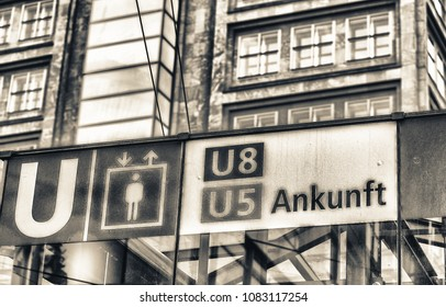 BERLIN, GERMANY - JULY 23, 2016: The Underground metro S-Bahn train station sign. Berlin U-Bahn is a rapid transit railway system in and around Berlin capital city of Germany.