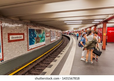 BERLIN, GERMANY - JULY 23, 2017: View of Berlin U-Bahn (metro) station Alexanderplatz.