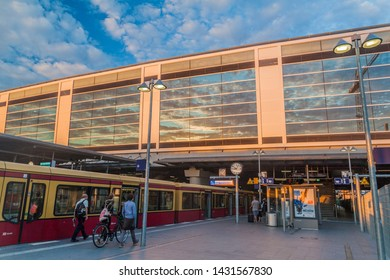 BERLIN, GERMANY - JULY 23, 2017: View of Berlin S-Bahn (rapid transit railway system) station Ostkreuz.