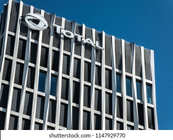 Berlin, Germany - July 23, 2018: Total-Tower. The Tour Total Berlin is a skyscraper built from 2010 to 2012, owned by the real estate company CA Immo, headquarters of the mineral oil company Total