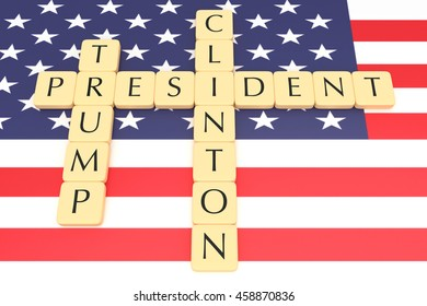 BERLIN, GERMANY - JULY 26, 2016: US election 2016: Letter tiles president, clinton, trump with US flag, 3d illustration