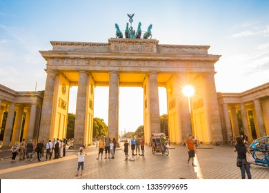 BERLIN - GERMANY - July 27, 2015: Brandenburg Gate, one of the best-known landmarks and national symbols of Germany, in beautiful golden evening light, Berlin, Germany.