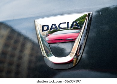 Berlin, Germany - July 27, 2017: Dacia logo. Today Renault (included Dacia) is the one of the biggest automotive brands in Europe