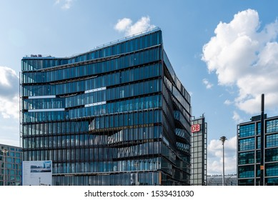 Berlin, Germany - July 27, 2019: Cube Berlin, a modern glass office building located on Washingtonplatz, besides central station and Spreebogen, on the german government district.