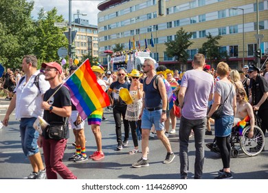 BERLIN, GERMANY - JULY 28, 2018: Christopher Street Day. LGBT celebration and demonstration for the rights of LGBT and against discrimination and exclusion to non-heterosexuals