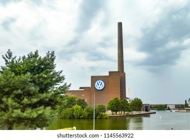 Berlin, Germany - July 28, 2018: Wolfsburg Volkswagen Plant. Volkswagen's largest manufacturing plant in the world, the worldwide headquarters of Volkswagen Group