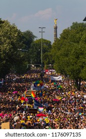 "Berlin / Germany -  July 28 2018: Several 100.000 people of all sexual orientations march through Berlin at the 40th Christopher Street Day (CSD) / Berlin Pride themed ""My Body. My Identity. My Life."""