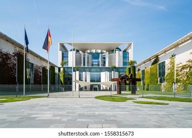 Berlin, Germany - July 28, 2019: The Bundeskanzleramt, German Federal Chancellery, main seat and office of German Chancellor Angela Merkel