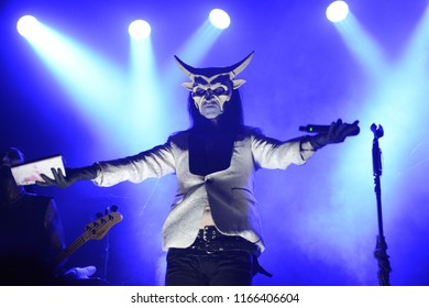 Berlin, Berlin / GERMANY July 29, 2018: American horror-punk band Wednesday 13 from California, with its vocalist Joseph Poole giving a live concert in Berlin (Germany) Columbia Theater.
