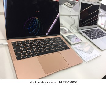 Berlin, Germany - July 29, 2019: McBook Air computer laptop in an electronics store. Apple is an American multinational technology company that designs, develops and sells consumer electronics