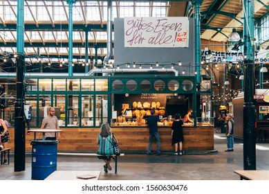 Berlin, Germany - July 29, 2019: Markthalle Neun, Market Hall Nine. It is a historical market with street food in Kreuzberg borough
