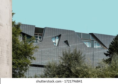 Berlin, Germany - July 29, 2019: The Jewish Museum of Berlin. It exhibits the social, political and cultural history of the Jews in Germany, located in Kreuzberg and was designed by Daniel Libeskind