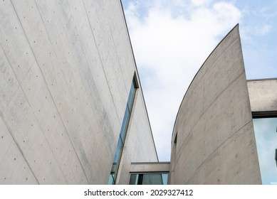Berlin, Germany - July 30, 2019: Contemporary architecture detail. Concrete facade in Marie-Elisabeth-Luders-Haus building in Government District of Berlin