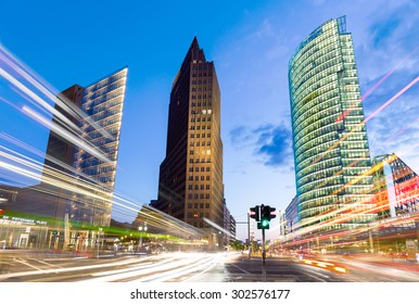 Berlin, Germany - July 31, 2015. The Potsdamer Platz is one of the most important places of Berlin. It is located in the Mitte district and is an attraction for tourists from around the world.