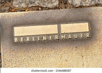 Berlin, Germany - July 31, 2019: Stiftung Berliner Mauer symbol. The Berlin Wall Foundation wants to document and provide information about the history of the Berlin Wall and the mass migration