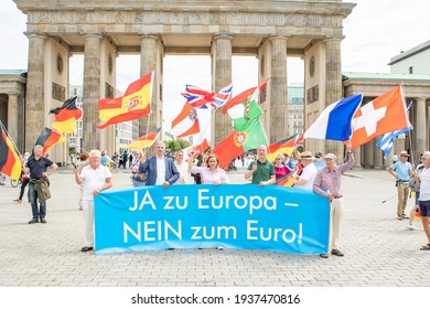 Berlin, Germany - July 4th 2020: The Berlin AfD holding an anti-Euro, pro Europe demo.