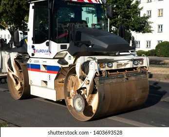 Berlin, Germany - July 5, 2018: Eurovia steamroller. Eurovia, a subsidiary of Vinci, is a transport infrastructure construction and urban development company