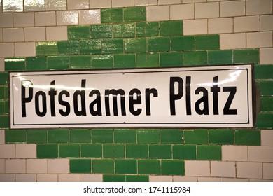 Berlin, Germany - July 6, 2017: Potsdamer Platz U-Bahn station sign. The U-Bahn, or Untergrundbahn (underground railway) is situated underneath the Potsdamer Platz in central Berlin