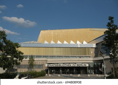 Berlin, Germany - July 6, 2017: Staatsbibliothek zu Berlin facade. The Berlin State Library is a universal library in Berlin, Germany and a property of the Prussian Cultural Heritage Foundation