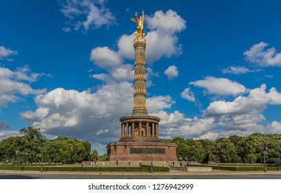 Berlin, Germany - July 6th 2016 - the Tiergarten is probably the most famous park in Berlin. Here in particular the Berlin Victory Column, made popular by U2 and Wim Wenders