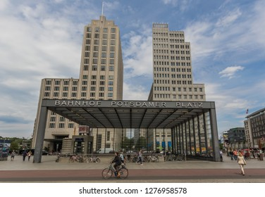 Berlin, Germany - July 7th 2016 - once split in two by the Berlin Wall, Potsdamer Platz is still one of the main landmarks of the german capital. Here in particular a glimpse of the modern square
