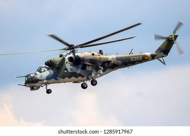 BERLIN, GERMANY - JUN 2, 2016: Czech Air Force Mil Mi-24 Hind attack helicopter in flight during the Berlin ILA Air Show.