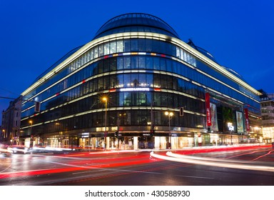 Berlin, Germany - June 01, 2016. Night Scene of Galeries Lafayette on Friedrichstrasse in Berlin. The luxury department store was built by the architect Jean Nouvel and opened on February 29 1996th.