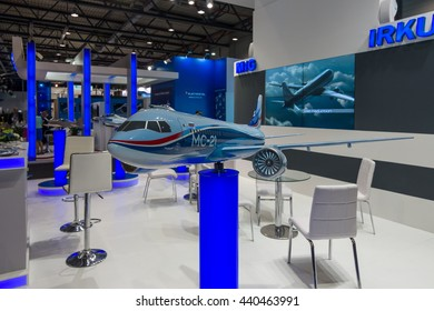 BERLIN, GERMANY - JUNE 01, 2016: The stand of Unated Aircraft Corporation (Russia). Model of Russian jet airliner Irkut MC-21. Exhibition ILA Berlin Air Show 2016