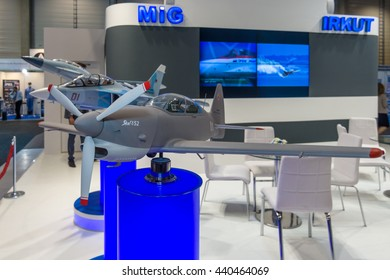 BERLIN, GERMANY - JUNE 01, 2016: The stand of Unated Aircraft Corporation (Russia). Model of Russian aerobatic and sports competition aircraft Yakovlev Yak-152. Exhibition ILA Berlin Air Show 2016