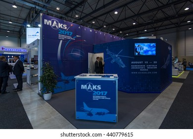 BERLIN, GERMANY - JUNE 01, 2016: Advertising Aviation and Space Salon MAKS 2017 in Moscow (Russia). Exhibition ILA Berlin Air Show 2016.