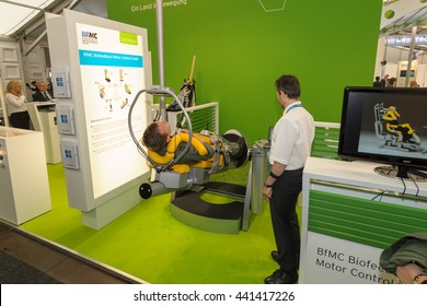 BERLIN, GERMANY - JUNE 01, 2016: The stand of BfMC Biofeedback Motor Control GmbH. Exhibition ILA Berlin Air Show 2016.