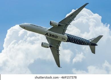 BERLIN, GERMANY - JUNE 02, 2016: Demonstration flight Airbus A350 XWB. Exhibition ILA Berlin Air Show 2016