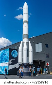 BERLIN, GERMANY - JUNE 03, 2016: Model of launch vehicle Ariane 6 (A64). Space Pavilion. Exhibition ILA Berlin Air Show 2016
