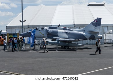 BERLIN, GERMANY - JUNE 03, 2016: Single seat subsonic carrier-capable attack aircraft McDonnell Douglas A-4N Skyhawk. Exhibition ILA Berlin Air Show 2016