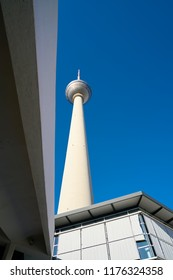 BERLIN, GERMANY – JUNE 07, 2016: TV tower in the city center of Berlin. The TV tower is the landmark of the city,